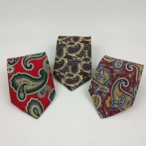 3 Brooks Brothers Makers 100% Silk Ties Paisley